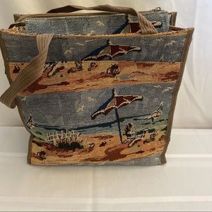 Tapestry Tote, Zio Closure, Beach Scene NEW
